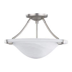 "Canarm - Nouveau - 15 1/2"" Semi Flush Light in Platinum with White Alabaster Gla -"