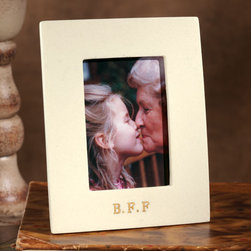"""Exposures - B F F Photo Frame - Overview Capture a favorite moment with your """"best friend forever"""" in this striking frame. A realistic faux marble finish with gold lettering gives the frame an upscale look. Makes a perfect gift for gal pals, grandparents and more.  Features Faux marble frame Gold lettering Lettering reads """"BFF"""" (best friends forever) Easel for table display and sawtooth hanger for wall hanging Designed exclusively for Exposures Holds a 2"""" x 3"""" vertical photo   Specifications  Measures 4"""" wide x 5"""" high"""