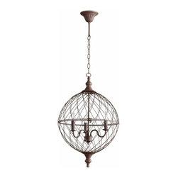 Round Rustic Iron Cage Castile 3 Light Pendant Fixture - *Castile Three Light Pendant