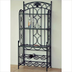 International Caravan - International Caravan Chelsea Indoor/Outdoor Wrought Iron Wine Rack Bakers Rack - Shop for Patio Cabinets Racks and Stands from Hayneedle.com! With its ample storage weather-resistant green finish and ornate curves the Chelsea Indoor/Outdoor Wrought Iron Wine Rack/Baker's Rack in Verti Gris Green is just what you need to dress up your dining room home bar or outside living space. This is one furniture piece that is a true multi-tasker. Built for entertaining it has three solid generous shelves with plenty of room for a bar decorative touches or even flatware and plates for brunch. Eight individual cubbies below are designed to hold wine bottles at the proper storage angle. Not just storage-friendly this baker's rack is built tough enough to handle the elements with a detailed wrought iron frame covered in a weather-resistant verti gris green finish.
