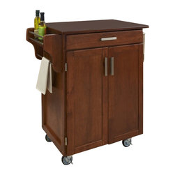 Home Styles - Home Styles Cuisine Cart in Warm Oak Finish with Cherry Top - Home Styles - Kitchen Carts - 90010067G -Home Styles Cuisine Kitchen Cart in a cottage oak finish with a 3/4 inch Cherry finished wood top features solid wood construction, and Utility drawer; 2 cabinet doors open to storage with adjustable shelf inside; Handy spice rack, Towel bar; Heavy duty locking rubber casters for easy mobility and safety. Size: 32.5w 18.75d 35.5h. Assembly required.
