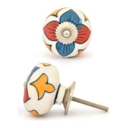 """Knobco - Ceramic Knob, Turquoise and Red Flower and Yellow leaf with White Base - Turquoise and Red Flower and Yellow leaf with White Base Ceramic knob, perfect for your kitchen and bathroom cabinets! The knob is 1.8"""" in diameter and includes screws for installation."""