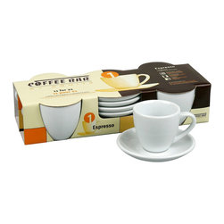 Konitz - Set of 4 Espresso Cups and Saucers - Mug shot. Serve your guests (or yourself) the perfect shot of espresso every time. These classic café cups in white porcelain have a timeless look that will never go out of style.