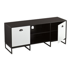 "Holly & Martin - Holly & Martin Suhma Media Console X-9599SM - Make way for the media! The contemporary black and gray finish of the Suhma strikes a balance with any style and any room. Understatedly bold color, jam packed with function. Media comes easy with two moveable shelves and an oversized cord management opening. Just throw on a movie or a fun game and cozy up to a bowl of popcorn for an entertaining night in.  - OVERVIEW                                                                                              - Ideal for a flat panel TV up to 50"" W overall                                                         - Open center storage with fixed shelf and cord management opening                                      - Enclosed storage in 2 side cabinets, each offering an adjustable shelf                                - Raised metal base and sleek, rounded handles                                                          - Black w/ gray finish                                                                                  - DETAILS                                                                                               - Center shelves: 19"" W x 14.75"" D x 7.5"" H (each)                                                      - Cabinets: 15.25"" W x 14.75"" D x 16"" H (each)                                                          - Cabinet shelf: 15.25"" W x 14.75"" D: centered at 8.5"" H (adjusts 1"" up or down)                        - Clearance below: 19"" W x 16"" D x 5.25"" H (center), 15.25"" W x 16"" D x 4.75"" H (per side)              - Supports up to: 175 lb. (top), 20 lb. (per center shelf), 15 lb. (per side shelf)                     - Materials: metal, MDF                                                                                 - Assembly: required                                                                                    - Overall: 52"" W x 16"" D x 22.25"" H"
