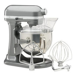 KitchenAid® Professional 600 Stand Mixer - Professional mixing power with a commercial-style motor for the home kitchen. The most powerful stand mixer in its family, this high-performance beauty with 14 cups of flour power is able to churn through double batches of bread dough with a Powerknead™ spiral dough hook that replicates hand-kneading. Professional bowl-lift design raises the bowl into mixing position, where a 10-speed slide control gives you just the speed you need from a very fast whip to a very slow stir—all while looking fabulous in its elegant pearl metallic finish.