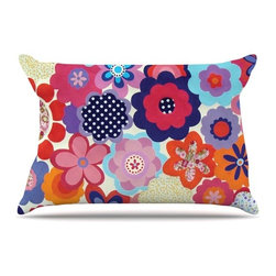 """Kess InHouse - Louise Machado """"Patchwork Flowers"""" Pillow Case, Standard (30"""" x 20"""") - This pillowcase, is just as bunny soft as the Kess InHouse duvet. It's made of microfiber velvety fleece. This machine washable fleece pillow case is the perfect accent to any duvet. Be your Bed's Curator."""