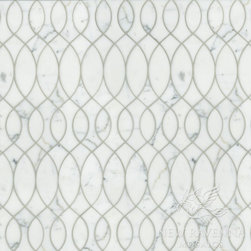 Silk Road Collection - Anisa - Anisa, a natural stone waterjet mosaic shown in polished Calacatta Tia, is part of the Silk Road Collection by Sara Baldwin for New Ravenna Mosaics.