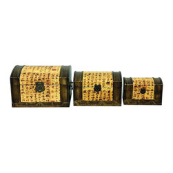 "Oriental Unlimted - 3 Pc Set Calligraphy Storage Boxes - Include genuine Brass hardware, which is antiqued and finished to resist rust. A unique and beautiful household storage solution. 3 Trunks depict a gathering of festively dressed geisha. Built with mahogany and Elm wood. Antique-finished for a gorgeous authentic look. Painted panels often include lines of calligraphy and Red seals. Finished in matte Black lacquer. Small: 8 in. W x 5 in. D x 5""H. Medium: 10""W x 7""D x 6.5""H. Large: 11.5""W x 9""D x 7.5""H"