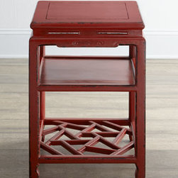 "Horchow - Antique Red Side Table - Petite square side table has one solid shelf and one open lattice-style shelf. Made of pine and mulberry. Distressed finish may have been ""touched up."" Circa Kuang Hsu period, 1875. Comes with certificate of antiquity. 17""Sq. x 25""T. Imported. B..."