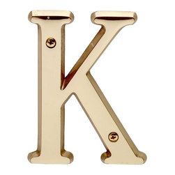 """Renovators Supply - House Numbers Bright Solid Brass 4"""" House Letter K - Made of solid brass, these polished die cast letters are made to withstand the elements. Measuring 4 in. high, they are easily seen from the curb. They will update your home's exterior!"""