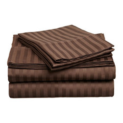 """400 Thread Count Egyptian Cotton Full Mocha Stripe Sheet Set - Our 400 Thread Count Sheet Sets offers more luxury than our 300TC yet still at an affordable price. They are composed of premium, long-staple cotton and have a """"Sateen"""" finish as they are woven to display a lustrous sheen that resembles satin. Luxury at an affordable price! Set includes: (1) Fitted 54""""x75"""", (1) Flat 81""""x96"""", (2) Pillowcases 20""""x30"""" each."""