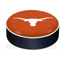 """Holland Bar Stool - Holland Bar Stool BSCTexas Texas Seat Cover - BSCTexas Texas Seat Cover belongs to College Collection by Holland Bar Stool This Texas Longhorns bar stool cushion cover is hand-made in the USA by Covers by HBS; using the finest commercial grade vinyl and utilizing a step-by-step screen print process to give you the most detailed logo possible. This cover slips over your existing cushion, held in place by an elastic band. The vinyl cover will fit 14"""" diameter x 4"""" thick seats. This product is Officially Licensed. Make those old stools new again while supporting your team with the help of Covers by HBS! Seat Cover (1)"""