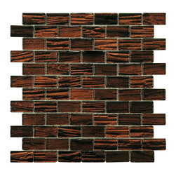 None - SomerTile 12.25-inch Arbor Subway Mahogany Glass Mosaic Tile (Pack of 10) - Renovate the look of the kitchen, bathroom or outdoor area with this classic subway mosaic tile. Constructed of glass with a unique metallic glazing, these tiles are impervious to water and make a great addition to any indoor or outdoor area.