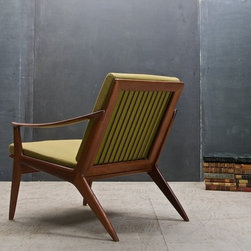 Vintage Danish Modern Relling Bambi Sculptural Teak Chair - Norway, c.1950s. Rolf Rastad and Adolf Relling Bambi Chair. Teak, and Original Fabric with New Dense Foam/Cushions. Great sculptural lines and elegant proportions. Sides dismount for easier transport. Excellent Vintage Condition, Lightly Used.