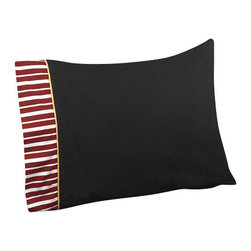 Sweet Jojo Designs - Pirate Treasure Cove Kids Sheet Set Twin (3-Piece) - The Pirate treasure cove kids sheet set will help complete the look of your sweet Jojo designs room. This solid black with striped trim and gold piping sheet set is available in a twin and Queen size and is machine washable for easy care.