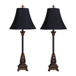 Aspire - Marlayne Table Lamp - Set of 2 - Set of 2. With this set of two table lamps you get a combination of beautiful design and excellent price. Each table lamp features the popular fleur de lis design in three locations on the lamp - near the bottom and top of the lamp base as well as the finial holding the shade on. The base is colored black with an antique brown accent color. A corresponding black shade completes the lamp. Polystone. Color/Finish: Black, antique brown. UL listed. Uses 60 watt max bulb. 32 in. H x 11.5 in. W x 11.5 in. D. Shade: 10.5 in. H x 11.5 in. W x 11.5 in. D. Weight: 7 lbs.
