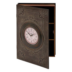 Benzara - Simple Wood Wall Box Clock in Dark Brown Rustic Finish - This elegant clock in the shape of a wall cabinet is sure to help your with high storage utility. Delicately carved minute and hour hands are highlighted against the white dial of this clock. The bold numerals come with high visibility that makes it conveniently readable at a glance. It provides better storage space for your kitchen essentials when hanged on the walls of your kitchen. Highly decorative, this wall clock will add great decor to the walls of your living room. The cabinet is designed in the shape of a box, and divided into three compartments for convenient storage. The circular clock is fixed on the door of this wood box. It is further enhanced with delicate engravings with a delighting pattern of clean lines and creative pattern. The dark brown finish of the clock renders a rustic look that will complement the decor your room.