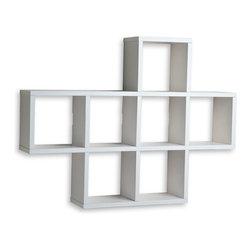 Danya B.  Cubby Laminated Shelving Unit, White  Seven storage