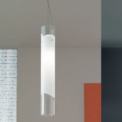 """Vistosi - Vistosi Lio pendant light - The Lio pendant light by Vistosi has been designed by Archivio Storico Vetereria Vistosi 1972. The blown glass cylinder was created with technique that enables modeling a white glass band into several layers of crystal. It radiates a glow of light to any decor. This beautiful light has been handmade on the Venetian island of Murano. Every light comes with a certificate of authenticity.  Product Description: The Lio pendant light by Vistosi has been designed by Archivio Storico Vetereria Vistosi 1972. The blown glass cylinder was created with technique that enables modeling a white glass band into several layers of crystal. It radiates a glow of light to any decor. This beautiful light has been handmade on the Venetian island of Murano. Every light comes with a certificate of authenticity.                         Manufacturer:             Vistosi                            Designer:                         Archivio Storico Vetereria Vistosi 1972                                         Made in:            Italy                            Dimensions:                         width: 4.7"""" ( 12 cm )  height: 23.6"""" ( 60  cm )             overall height: 47.2"""" (120 cm)                                         Light bulb:                         1x 100W Halogen or 1 x 23W Flourescent                                         Material                         white with clear crystal"""
