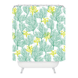 DENY Designs - Sarah Watts Coralesque Teal Shower Curtain - Who says bathrooms can't be fun? To get the most bang for your buck, start with an artistic, inventive shower curtain. We've got endless options that will really make your bathroom pop. Heck, your guests may start spending a little extra time in there because of it!