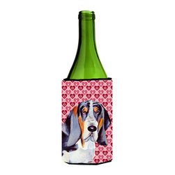 Caroline's Treasures - Basset Hound Hearts Love and Valentine's Day Portrait Wine Bottle Koozie Hugger - Basset Hound Hearts Love and Valentine's Day Portrait Wine Bottle Koozie Hugger Fits 750 ml. wine or other beverage bottles. Fits 24 oz. cans or pint bottles. Great collapsible koozie for large cans of beer, Energy Drinks or large Iced Tea beverages. Great to keep track of your beverage and add a bit of flair to a gathering. Wash the hugger in your washing machine. Design will not come off.