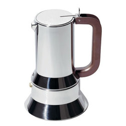 Alessi - Espresso Coffee Maker - Six-cup, Three-cup, and One-cup espresso coffee maker. The 9090 isn't just the first espresso coffee maker in Alessi's history: it was also Alessi's first object for the kitchen after the 1930s, the first of Alessi's many Compasso d'Oro awards (1979), Alessi's first object to be inducted into the Permanent Design Collection at the New York MOMA, and of course it's the best-loved Alessi coffee maker bar none, as well as Alessi's first ''amphibious object'', i.e. it is for kitchen use, but with its high design quality it can also be brought directly to the table. Features: -Material: 18/10 Stainless steel.-Capacity: 2.36 ounces.-Capacity: 5 ounces.-Capacity: 10 ounces.-Distressed: No.Dimensions: -1 Cup overall dimensions: 5.91'' H x 3.74'' Dia.-3 Cups overall dimensions: 6.89'' H x 4.33'' Dia.-6 Cups overall dimensions: 8.07'' H x 4.92'' Dia.