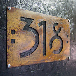 Address Plaques - Arts and Craft Style / Mission Style hand-rusted steel house numbers