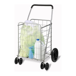 Dual Wheel Utility Cart - 4 wheel folding utility cart. large rear wheels on back and dual front wheels for easy maneuvering. foam handle. 10 lbs 1 oz. cart measures 39in h x 23.75in w x 23in d. (99.1cm x 59.6cm x 58.4cm )