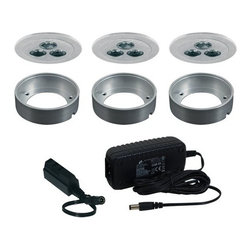 Jesco Lighting - Jesco Lighting KIT-PK713-A Fixed Round LED Slim Under Cabinet Disk Kit - Jesco Lighting has built a solid reputation on quality, service and value. An expanded product offering includes a broad range of indoor and outdoor lighting products. All are available in various energy-efficient lamp sources and options exist for a multitude of power supplies and accessories allowing you to customize according to your project needs.Fixed round led slim disk kit - brushed aluminum. 3000k. Includes three 3w recessable, long lasting, led fixtures and a wall plugged power supply. Constructed of machined die cast aluminum, led slim disks may be recessed or surface mounted (surface mount collars included). Energy efficient led slim disks have a long operating life of 50,000 hours and do not contain mercury or uv radiation that can be harmful to items on display or woodwork. Please note: slim disks are not intended for use in wall or ceiling applications.Features: