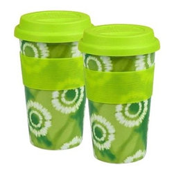 Waechtersbach Set of 2 Medium Travel Mugs Batik - Green - Take your drink and your style to go with the Waechtersbach Set of 2 Medium Travel Mugs Batik - Green. Crafted of fine porcelain, these convenient mugs are dishwasher- and microwave-safe and are finished in a green color with tie dye print. This set of two cups feature a ribbed grip design for comfortable handling.Set includesTwo travel mugsAbout Waechtersbach USAIf you're looking for big, bold color at the dinner table, you've found it with the distinctive designs of Waechtersbach USA, the US division of the renowned German company. Since 1832, Waechtersbach has been crafting colorful ceramic products that celebrate the beauty of color, from everyday dinnerware to more formal serving ware. Waechtersbach has been in business for over 175 years and they always keep an eye on contemporary environmental needs with their dedicated manufacturing processes that utilize optimal machinery and expend less carbon dioxide.