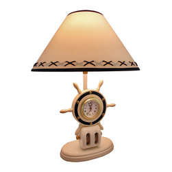 Zeckos - Nautical Wooden Ship's Wheel Block Table Lamp with Clock - This lamp is a lovely accent to end tables, nightstands, or tables in rooms with a nautical theme. It is made of wood with a white finish and features a ship's wheel block with a clock in the center. The lamp measures 20 inches tall, has an 8 1/2 inch by 4 3/4 inch base, and comes with a 15 inch diameter shade. It uses a 60 watt (max) type A bulb (not included), has a black 5 foot long power cord with a thumb wheel on/off switch, and the base of the lamp is lined with velour to protect it from scratching delicate surfaces. The clock features quartz movement, and runs on 1 AA battery (not included).