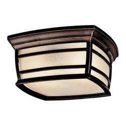 Kichler - Kichler McAdams 2-Light Rubbed Bronze Outdoor Flush Mount - This 2-Light Outdoor Flush Mount is part of the Mcadams Collection and has a Rubbed Bronze Finish.