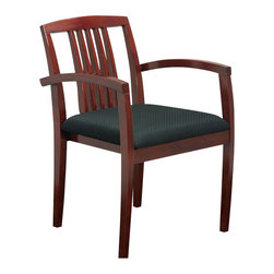 Office Star - Office Star Sonoma Set of 4 Guest Chair with Wood Slat Back in Cherry - Office Star - Guest Chairs - SON99CHY - Wood Guest Seating Coordinates with Sonoma Case Goods. Leg chair with wood slat back and upholstered seat. Ships 4 per carton frame fully assembled seat cushion unmounted. Sonoma cherry finish.