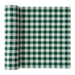 MYdrap - Cotton Vichy Placemat, Green Vichy - Here's a clever idea! These festive cotton placemats come on a perforated roll of 12, so you simply tear off the number that you need. Throw them away when you're done, or wash and reuse them up to six times. Perfect for those occasions when plastic placemats seem too casual and a tablecloth feels too formal.