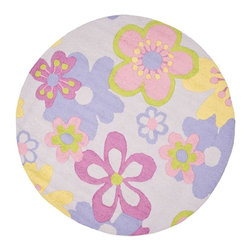 Safavieh - Kids Multicolor Round Rug (4 ft.) - Choose Size: 4 ft. Novelty design. High-quality . Hand tufted. Made from premium wool. Made in India. Pile height: 0. 63 in. This is made with premium New Zealand wool lending a lush and warm feel that will go great in any Childs play area or bedroom. Safavieh offers style that kids can grow up with in a sophisticated collection designed for boys and girls. Safavieh Kids rugs come in cheerful patterns that will stand up to wear. Hip and stylish, Safavieh designs are the focal point of your Childs room and the foundation for great interior designs. Care Instructions: Vacuum regularly. Brushless attachment is recommended. Avoid direct and continuous exposure to sunlight. Do not pull loose ends clip them with scissors to remove. Remove spills immediately; blot with clean cloth by pressing firmly around the spill to absorb as much as possible. For hard-to-remove stains professional rug cleaning is recommended.