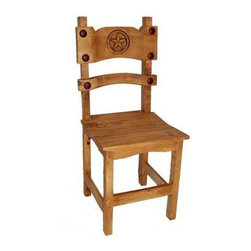 Million Dollar Rustic - Poker Chair w Star - Iron decor. Warranty: One year. Made from white pine. 16 in. W x 15 in. D x 39 in. H (9 lbs.)