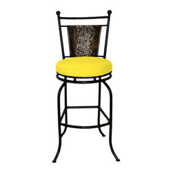 "Surf Side Patio - Fiji Swivel Bar stool, Buttercup, 24"" Counter Height - Accent your breakfast bar, home bar, tiki bar or patio with the hand crafted, wrought iron Fiji Swivel Bar stool.  Made from thick guage, powder coated wrought iron, these gorgeous bar stools swivel 360 degrees and bring a tropical touch to any area of your home, indoor or outdoor."