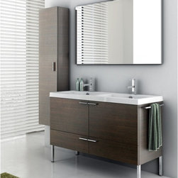 ACF - 47 Inch Bathroom Vanity Set - Set Includes: . Vanity Cabinet (2 doors, 2 drawers). Fitted ceramic sink (47.2 inch x 18 inch ). Mirror (W 47.2 inch x H 28.3 inch ). Vanity light. Kit of 4 polished chrome feet (7.9 inch ). Tall Storage Cabinet (W 13.8 inch x H 59.1 inch x D 8.2 inch ). Polished Chrome Towel Rail. Vanity Set Features:. Vanity cabinet made of engineered wood. Cabinet features waterproof panels. Available in Wenge, Grey Oak Senlis, Larch Canapa, Glossy White. Cabinet features 2 doors and 2 soft-closing drawers. Faucet not included. Perfect for modern bathrooms. Made and designed in Italy. Includes manufacturer 5 year warranty.