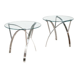 Great Deal Furniture - Davina Tempered Glass Round Accent Table w/ Chrome Legs, End Tables (Set of 2) - Add a modern touch to any room in your home with the Davina Glass End Tables. These tables are made with tempered glass for durability and modern designed chrome finished legs. The clean lines and curved legs give these tables a sculptural feel, giving the pair artistic dimension. The Davina Glass End Tables offer the perfect touch of modern elegance to your home.
