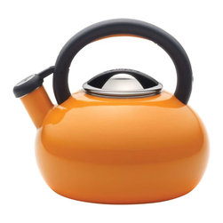 Circulon - Circulon Sunrise 2-Quart Steel Teakettle, Orange - Circulon has brought more than 25 years of style and functionality to the home, and for the days first piping hot cup of coffee or tea, the Circulon 2-Quart Sunrise Teakettle delivers both and then some. The distinctive shape of this teakettle looks fantastic on the stovetop or around the kitchen, and it boils up to 6 cups of water for delicious hot cocoa with the entire family or a large pot of English breakfast tea with friends. A whistle pleasantly signals when the water is at the boil, and the handles squeeze-and-pour spout is easy to operate. This teakettles handsome blend of style and utility also complements other great Circulon cookware to add even more design to your kitchen.