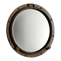 Porto Mirror - It may have been inspired by an ocean voyage to a faraway shore, when a porthole became a window to the world. The industrial styling of the Porto Mirror boasts a rustic bronze finish that lends the piece classic flair. While nautical in design, the mirror is versatile enough to blend beautifully with the eclectic appointments of your transitional decor.