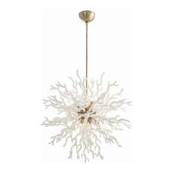 """Arteriors Home - Arteriors Home Diallo Chandelier, White, Large - Coral inspired, this lacquered resin chandelier is as dramatic as it is unique. The chandelier is available in two different colors, Red or White and two different sizes, Small or Large. The White chandeliers feature satin gold accents and the Red chandeliers feature polished nickel accents. The small chandeliers measure 24"""" in diameter with an adjustable height of 36-48"""". The large chandelier measures 30"""" in diameter and has adjustable height of 40-52"""". Both sizes feature 8 lights and take 40 watt max bulbs."""