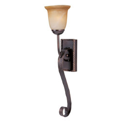 Maxim Lighting - Maxim Lighting Aspen Traditional Wall Sconce X-IOAV81602 - Elegance is the word that comes to mind upon viewing the Maxim Lighting Aspen collection. The wall sconce has a large swooping curl accent that seems to roll down from the back-plate making this wall sconce look more grandeur. The iron details continue along the edge of the backplate where the iron is twisted to make a nice decorative border. The wall sconce is finished off with a beautiful Vintage Amber Glass.