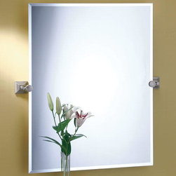 Meridian Rectangular Tilting Mirror - Satin Nickel - Get a great view from any angle with this Meridian Rectangular Tilting Mirror. Its sleek lines and elegant design will add a sophisticated touch to any bathroom.