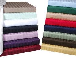 Bed Linens - Egyptian Cotton 300 Thread Count Stripe Duvet Cover Set King/Cal-King Light Blue - 300 Thread Count Stripe Duvet Cover Sets
