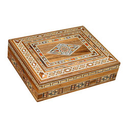 MBW Furniture - Syrian Walnut Mother of Pearl Mosaic Jewelry Box - Walnut Construction 100% Hand Made Craftsmanship Genuine Mother of Pearl Inlay  Strong and Sturdy Not Massed ProducedThis is a large mosaic jewelry box that is handcrafted in Syria.  It is a beautiful mosaic piece, rich in vibrant colors and ornate designs.  Rested in the lid are red wood and peach wood inlays, which add luster to the finish and will bring something to any room that it may be placed in.  This item has a mystique about it, an air of flamboyance with grace, it would be the perfect gift for that one person you know who has everything.  The mosaic furniture we import from Syria is of the highest quality found anywhere. We hand pick each piece we buy for quality. You can purchase this furniture from us cheaper than you get it in Syria believe it or not. Please consider the features below for our gorgeous 100% hand made Syrian mosaic furniture. Solid Walnut Wood Frame Hand Inlaid exotic woods like Peach wood, Apricot wood, Rose wood, Peach wood, lemon wood, cedar wood and olive wood. Genuine Inlaid Mother of Pearl (not the cheap imitations or plastic) Completely Hand Made (no mass production whatsoever). Same methods used today in the construction, where all the furniture is made in small workshops, not factories. We literally have a full time employee in Syria buying from over 30 small workshops. The Syrians are the first original producers of Arabesque mosaic inlaid furniture and accessories. Many surrounding countries like Egypt, Turkey, and Lebanon have tried to imitate the process with little success. There is a huge difference in the quality and craftsmanship and woods used. Syria sells mosaic furniture mainly to the Middle East due to heavy restrictions on importing from Syria to other countries like the USA. MBW FURNITURE, INC is one US based direct importer with the ability to import from Syria (however with extreme difficulty). We are not sure yet if we will be able to continue to import this furniture in the future due to the extreme difficulty and restrictions by customs inspections and political conditions and changes. You are getting one of a kind, unique furniture that will last a lifetime. You are getting the best Syrian mosaic furniture in the world from us; hand picked and selected, BAR NONE. Please shop around and come to us later to compare prices. Remember, there are different quality levels of Syrian mosaic furniture, we only import the cream of the crop quality with the real mother of pearl inlay and high end finish. Many sellers will sell you the cheap stuff; we cannot compete price wise with low end items because there is a world of difference in quality!