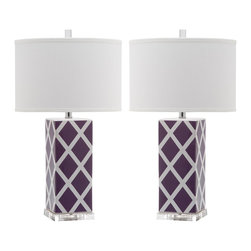 Safavieh - Garden Lattice Table Lamp, Set of Two - Forever plaid takes on new meaning with the Garden Lattice table lamp by Safavieh. Crafted of purple and white ceramic with acrylic base and a silver neck, this graphic windowpane design is topped with a contemporary white cotton hardback drum shade.