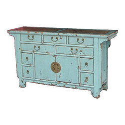 Sideboard Two-Door/Nine-Drawer With Marble - A sideboard with an Asian twist and vibrant colors.