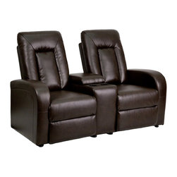 Flash Furniture - Flash Furniture Theater Seating Brown Leather Theater Seating - Complete your theater room with this comfortable theater style seating. The soft leather will keep you comfortable as you sit down with friends and family for movie night or while playing video games. You can setup as many rows as needed to fill up your desired space. The push back recline allow users to set their own recline to their own comfort. [BT-70259-2-BRN-GG]