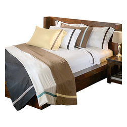 Bed Linens - Hotel Collections 300 Thread Count Cotton Sheet Sets Twin Mocha/Sky Blue - HotelCollection 300 Thread Count Solid Sheet Sets
